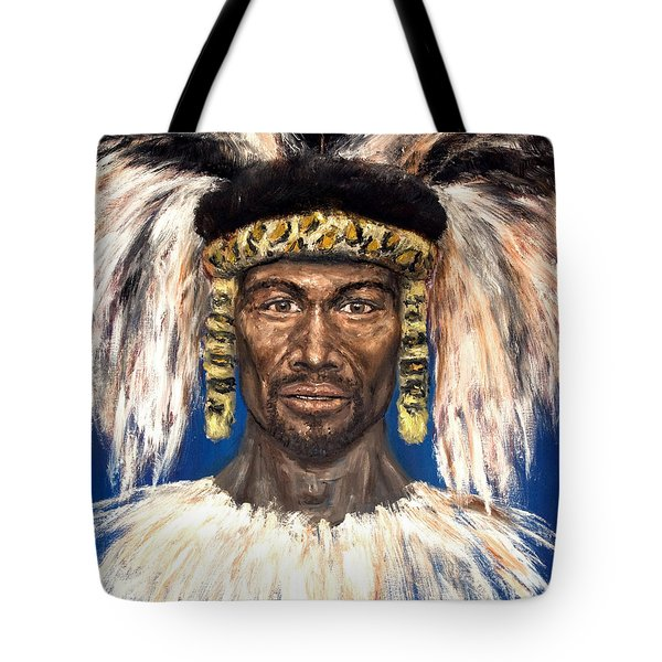 Tote Bag featuring the painting Zulu Warrior by Arturas Slapsys