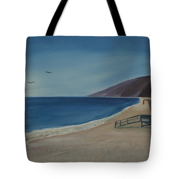 Tote Bag featuring the painting Zuma Lifeguard Tower by Ian Donley