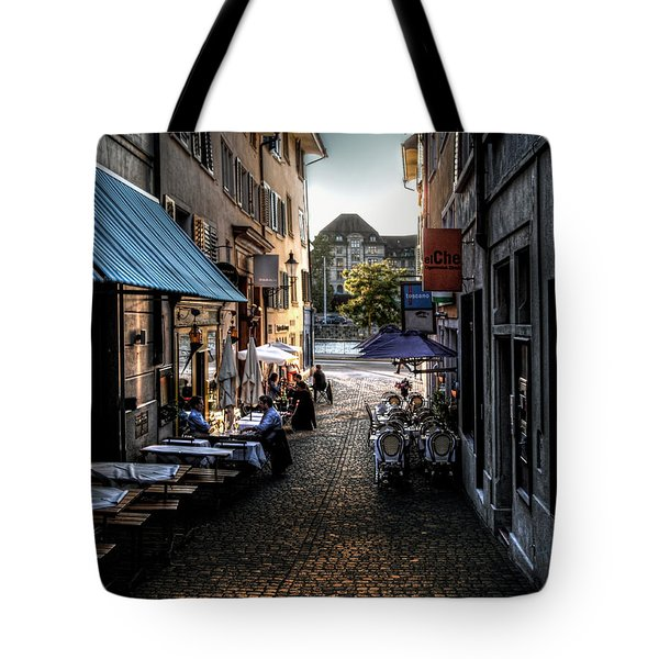 Tote Bag featuring the photograph Zurich Old Town Cafe by Jim Hill
