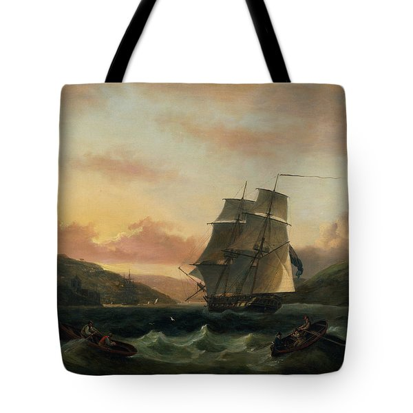A Brigantine In Full Sail In Dartmouth Harbour Tote Bag by Thomas Luny