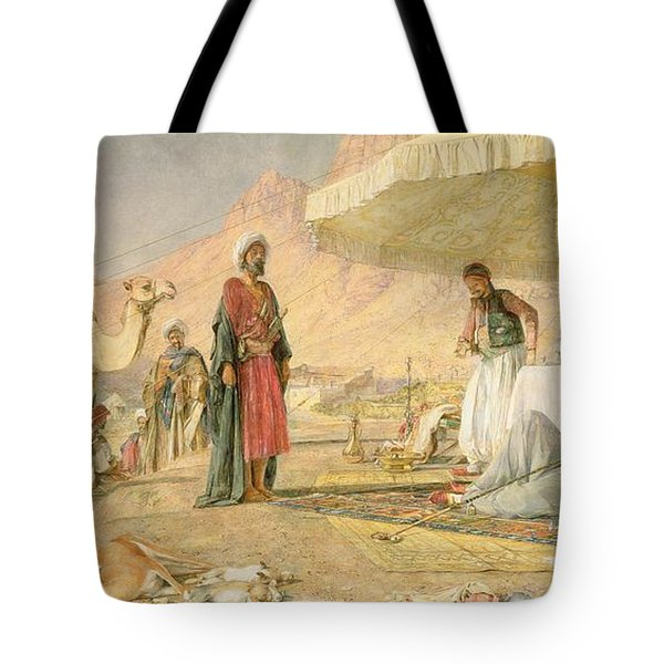 A Frank Encampment In The Desert Of Mount Sinai Tote Bag by John Frederick Lewis