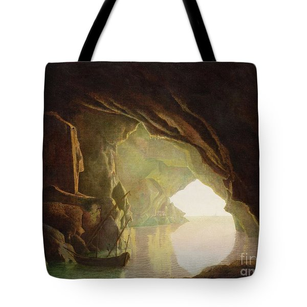 A Grotto In The Gulf Of Salerno - Sunset Tote Bag by Joseph Wright of Derby