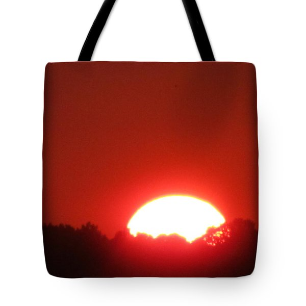 Tote Bag featuring the photograph  A Very Red Summer Sunset by Tina M Wenger