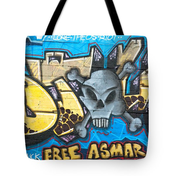 Tote Bag featuring the painting  Abstract Permission Graffiti Wall by Yurix Sardinelly