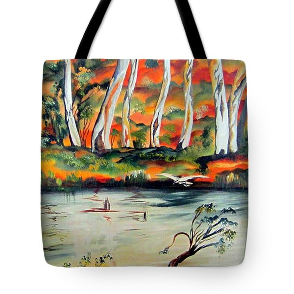 Tote Bag featuring the painting  Aussiebillabong by Roberto Gagliardi
