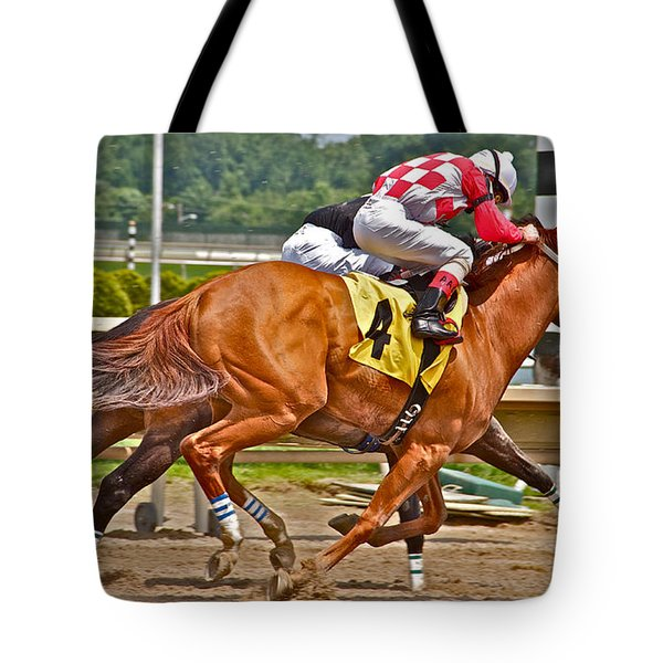 Tote Bag featuring the photograph  Betting On Number Four by Alice Gipson