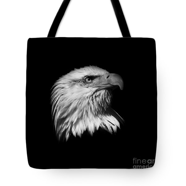 Black And White American Eagle Tote Bag by Steve McKinzie