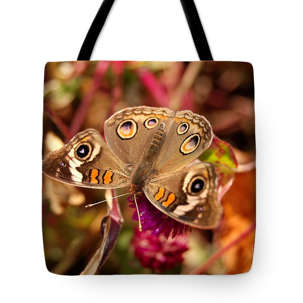 Tote Bag featuring the photograph  Buckeye Butterfly  by Eva Kaufman