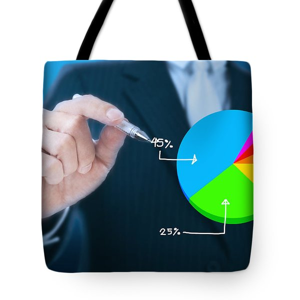 Businessman Writing Graph Tote Bag by Setsiri Silapasuwanchai