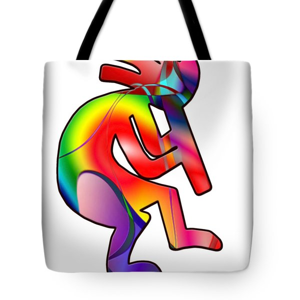 Tote Bag featuring the photograph  Colorful Kokopelli Silhouette by Susan Leggett