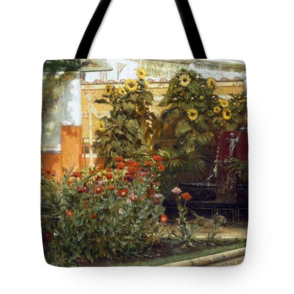 Corner Of A Roman Garden Tote Bag by Sir Lawrence Alma-Tadema
