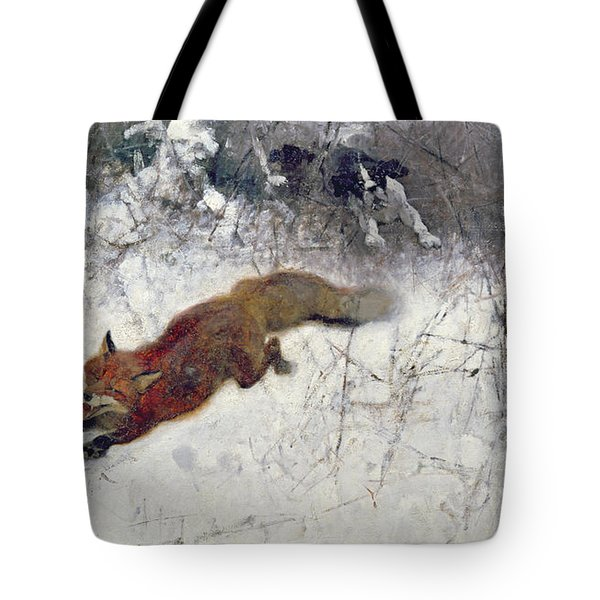 Fox Being Chased Through The Snow  Tote Bag by Bruno Andreas Liljefors