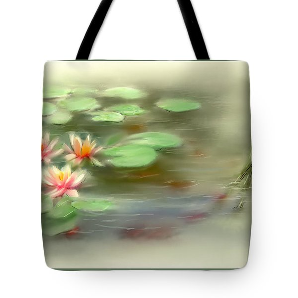 Tote Bag featuring the painting  Gold Fish Pond by Bonnie Willis