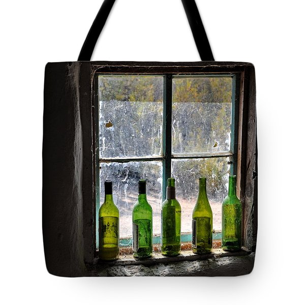 Green Bottles In Window Tote Bag