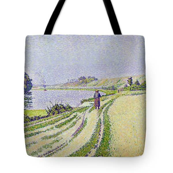 Herblay La River  Tote Bag by Paul Signac