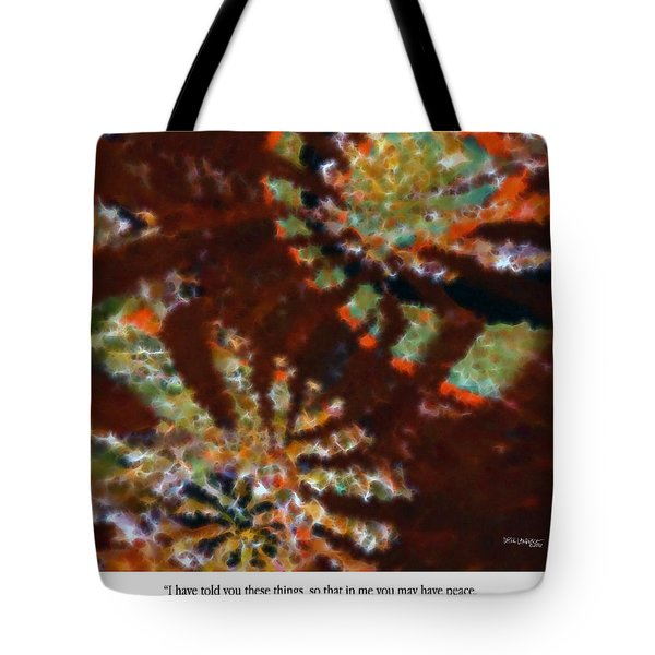 In Me You May Have Peace. Christian Art Poster Tote Bag by Mark Lawrence