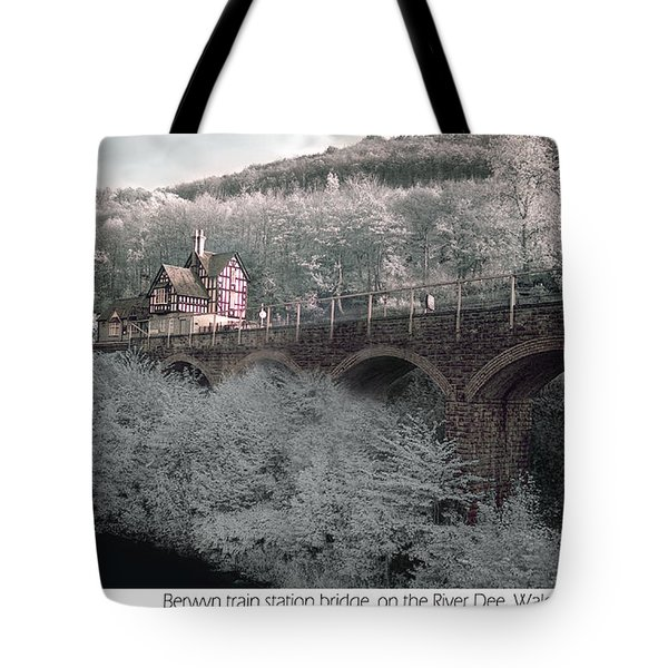 Tote Bag featuring the photograph  Infrared Train Station Bridge by Beverly Cash