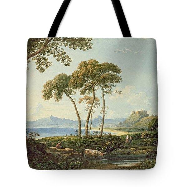Landscape With Harlech Castle Tote Bag by John Varley