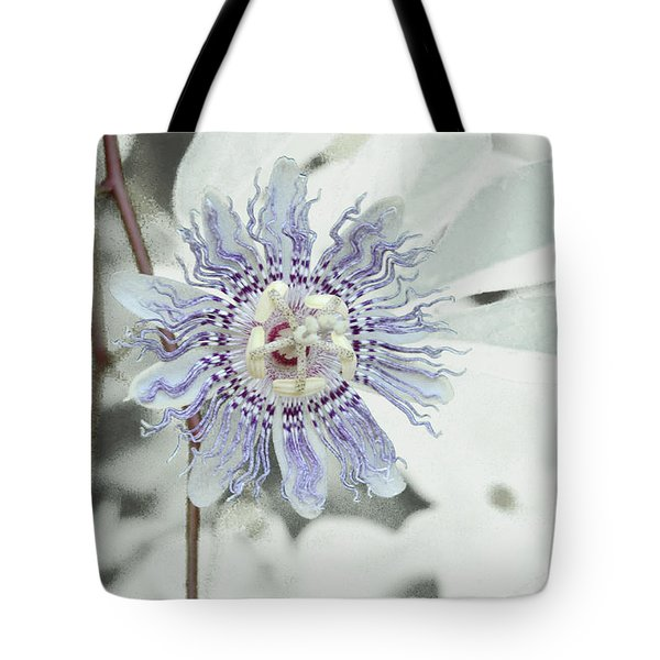Passion Flower On White Tote Bag