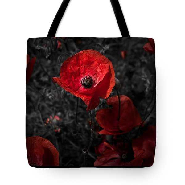 Tote Bag featuring the photograph  Poppy Red by Beverly Cash