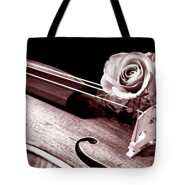Rose Violin Viola Tote Bag by M K  Miller