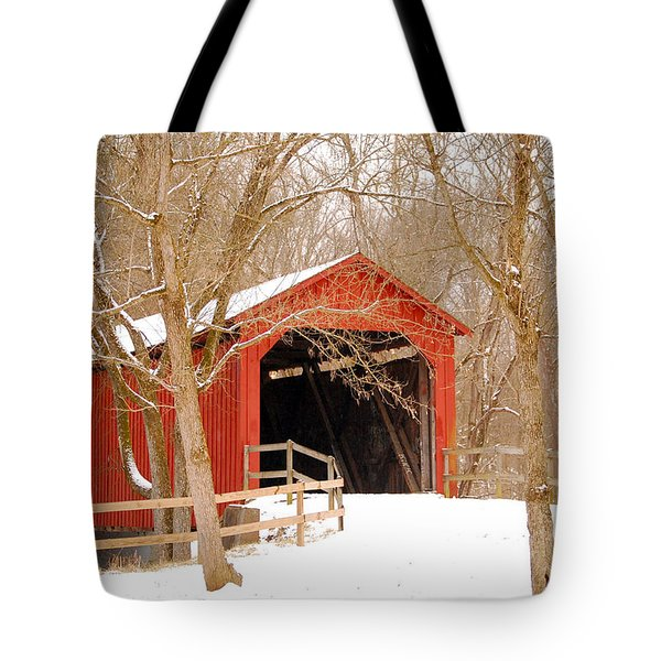 Tote Bag featuring the photograph  Sandy Creek Cover Bridge  by Peggy Franz