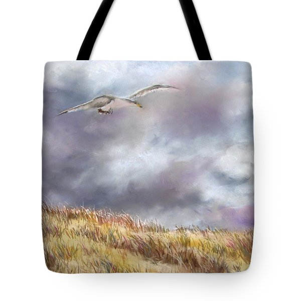 Seagull Flying Over Dunes Tote Bag by Jack Skinner