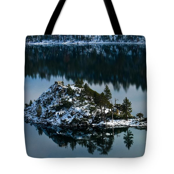 Tote Bag featuring the photograph  Snow Covered Reflection by Mitch Shindelbower