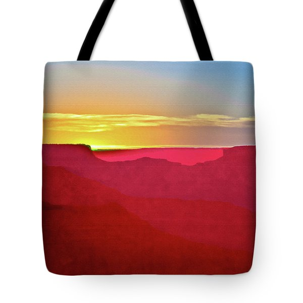 Tote Bag featuring the painting   Sunset At Grand Canyon Desert View by Bob and Nadine Johnston
