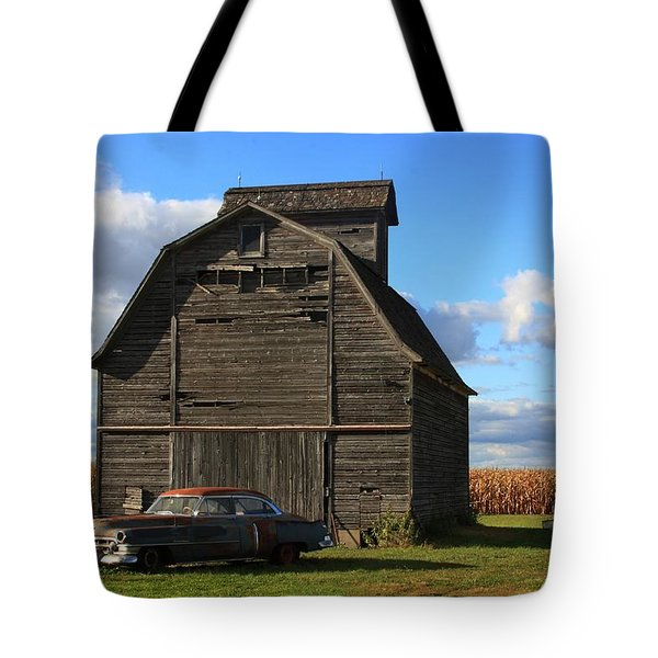 Vintage Cadillac And Barn Tote Bag by Lyle Hatch