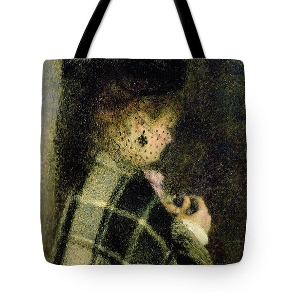 Young Woman With A Small Veil Tote Bag by Pierre Auguste Renoir