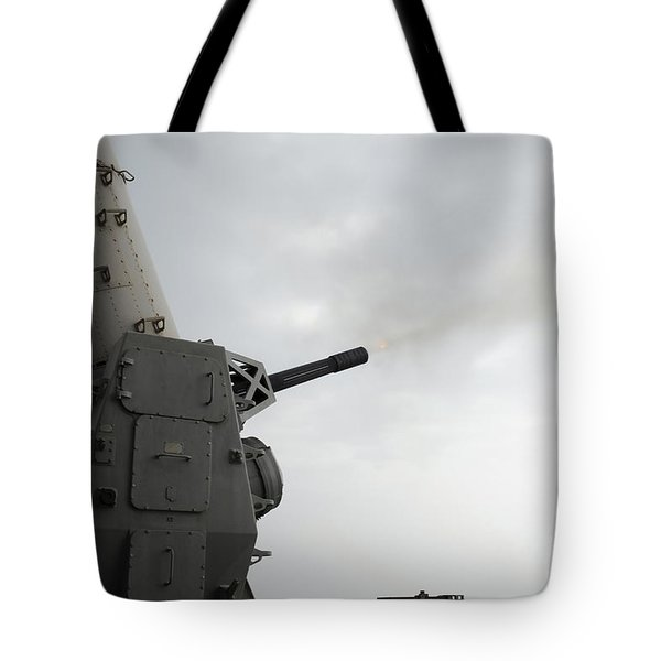 A Close-in Weapons System Is Fired Tote Bag by Stocktrek Images
