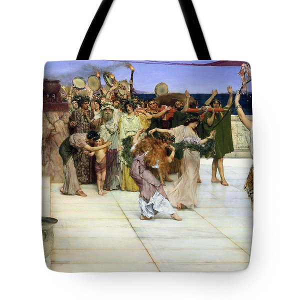 A Dedication To Bacchus Tote Bag by Sir Lawrence Alma-Tadema
