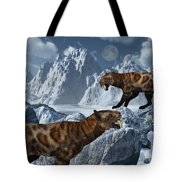 A Pair Of Sabre-toothed Tigers Tote Bag by Mark Stevenson