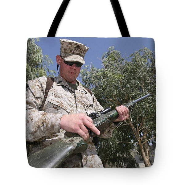 A Soldier Holds The M-40a1 Sniper Rifle Tote Bag by Stocktrek Images