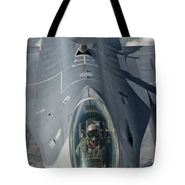 A U.s. Air Force F-16c Fighting Falcon Tote Bag by Giovanni Colla