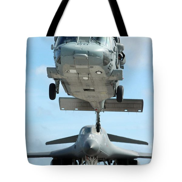 A U.s. Navy Mh-60s Seahawk Helicopter Tote Bag by Stocktrek Images