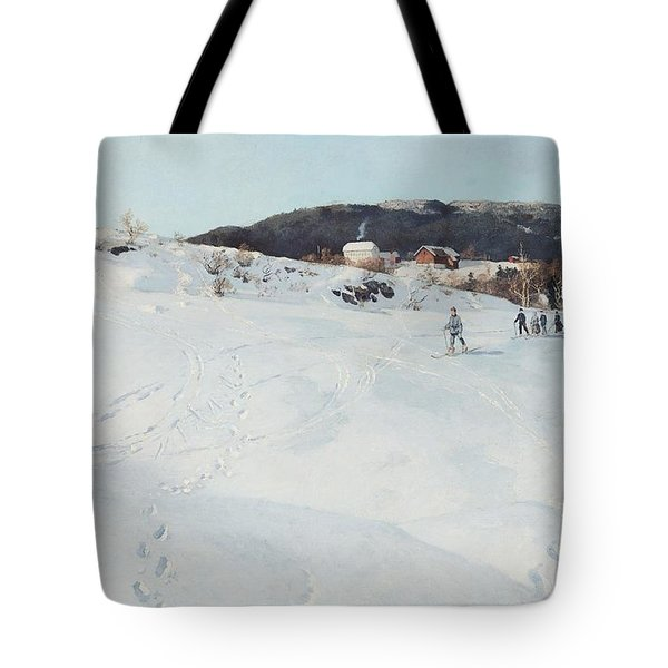 A Winter's Day In Norway Tote Bag by Fritz Thaulow