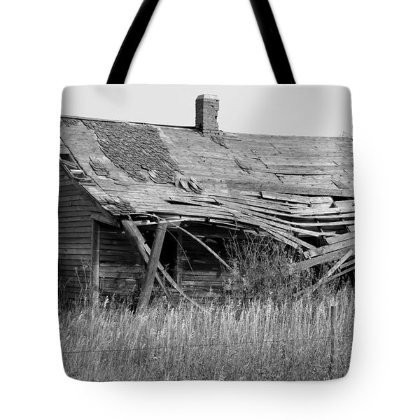 Abandoned House In Monochrome Tote Bag by Jim Sauchyn