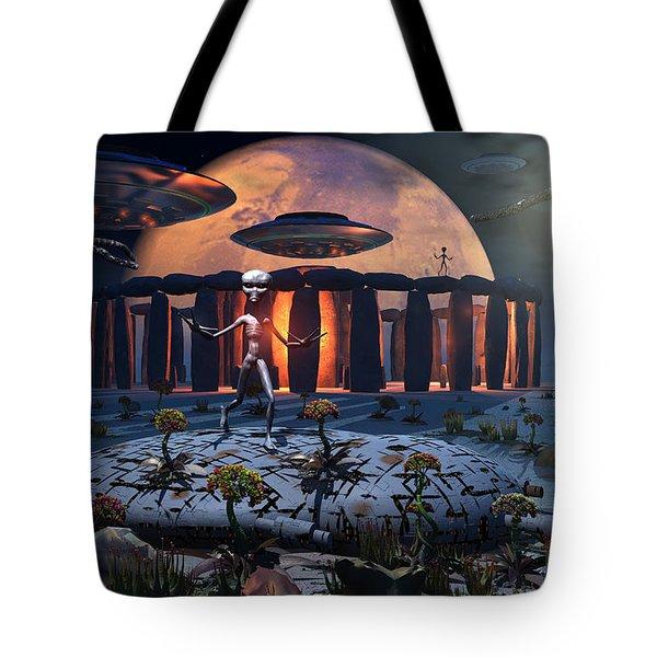 Alien Explorers On An Alien World Tote Bag by Mark Stevenson