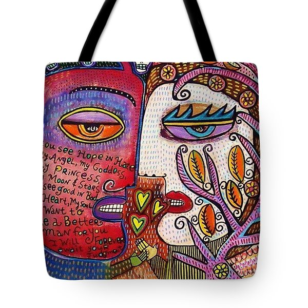 Angel And Devil Lovers Tote Bag