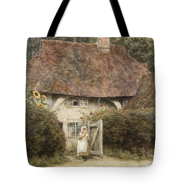 At The Cottage Gate Tote Bag by Helen Allingham