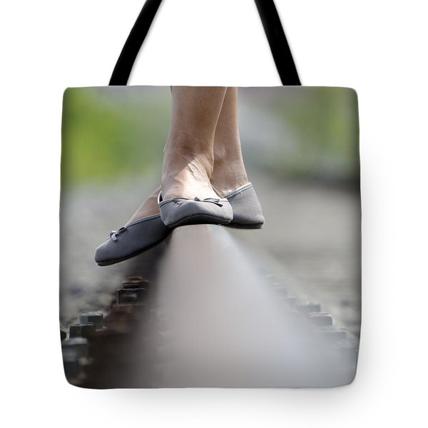 Balance On Railroad Tracks Tote Bag
