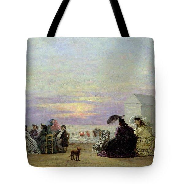 Beach Scene Tote Bag by Eugene Louis Boudin