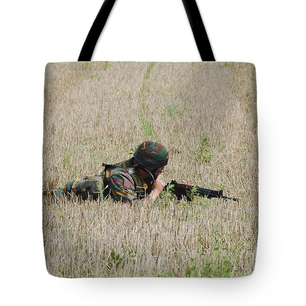 Belgian Paratroopers On Guard Tote Bag by Luc De Jaeger
