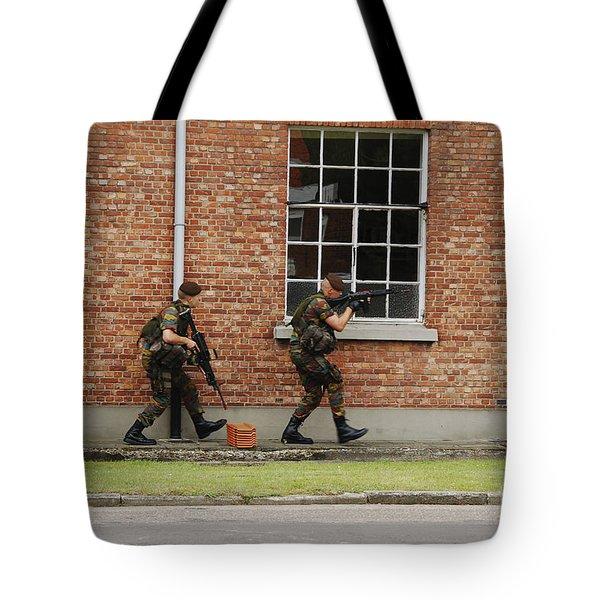 Belgian Soldiers On Patrol Tote Bag by Luc De Jaeger