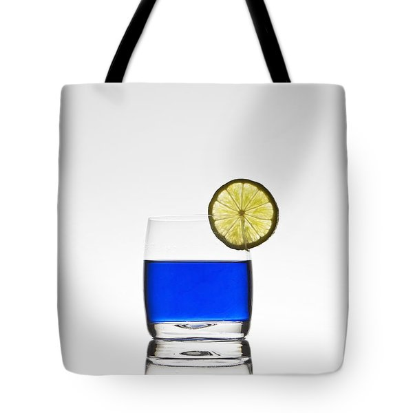 Blue Cocktail With Lemon Tote Bag