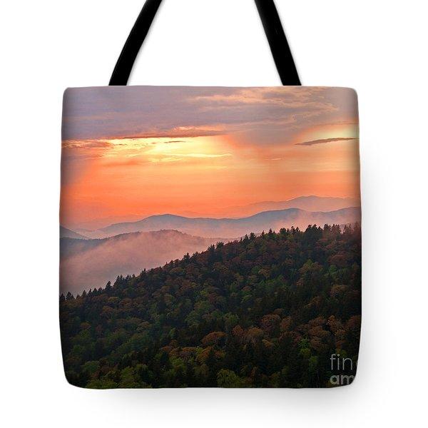 Blue Ridge Sunset Tote Bag by Bob and Nancy Kendrick
