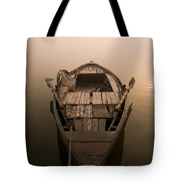 Boat In The Water, Varanasi, India Tote Bag by Keith Levit