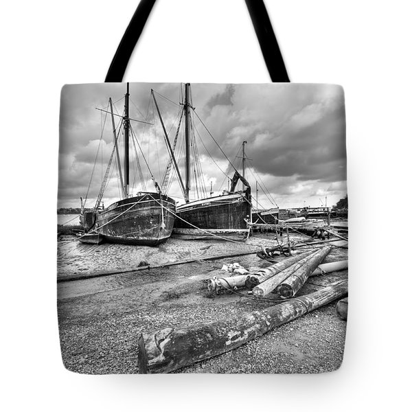Boats And Logs At Pin Mill  Tote Bag by Gary Eason